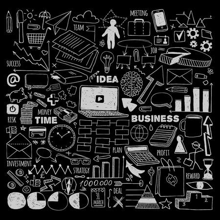 Big business set. White on black background.