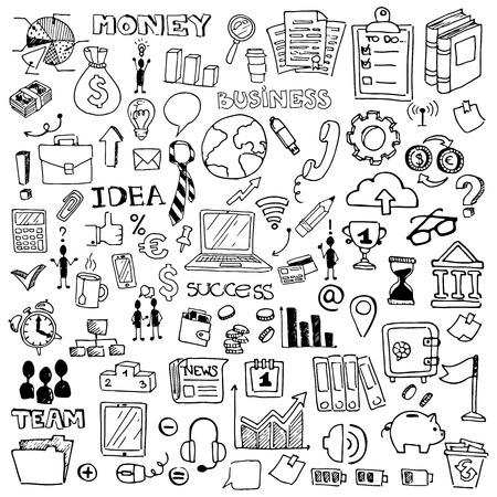 big business: Iconos lineales para web o m�vil. Conjunto del gran negocio. Negro sobre fondo blanco. Vectores
