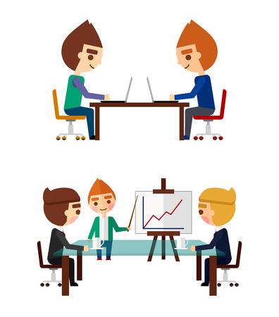 negotiations: Negociaciones de visita fijadas. Los gerentes en el trabajo y el informe sobre el trabajo realizado.