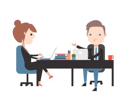 negotiations: Negociaciones comerciales. Gente en el trabajo en la oficina. La gente de negocios o de la oficina. Vectores