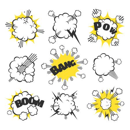 Beeldverhaal explosie. Beeldverhaal explosie. Tekeningen voor strips en kinderboeken. Stock Illustratie