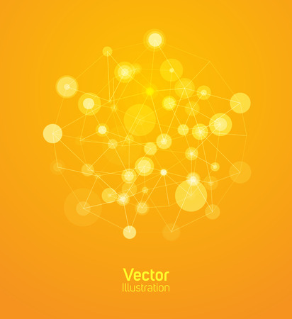 Internet web background. Yellow background with circles and lines.