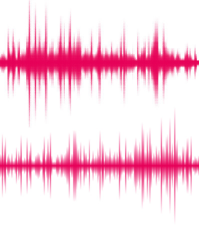 sonido: Ecualizador digital de color rosa. Las vibraciones de las ondas sonoras.