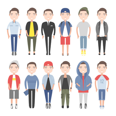 Men outfits for different occasions. Young people in everyday clothes.