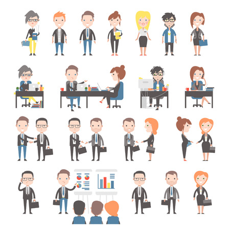 ビジネスやオフィスの人々 のグループ。オフィス ワーカーを設定します。  イラスト・ベクター素材