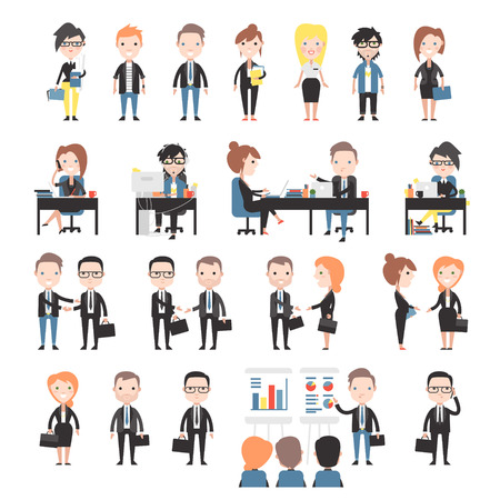 office working: Group of business and office people. Set office workers.