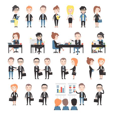 Skupina obchodních a kancelářských lidí. Sada kancelářských pracovníků. Ilustrace