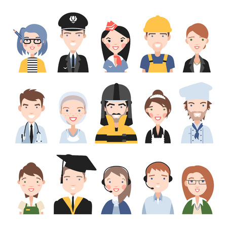 attendant: People of different professions. On a white background.