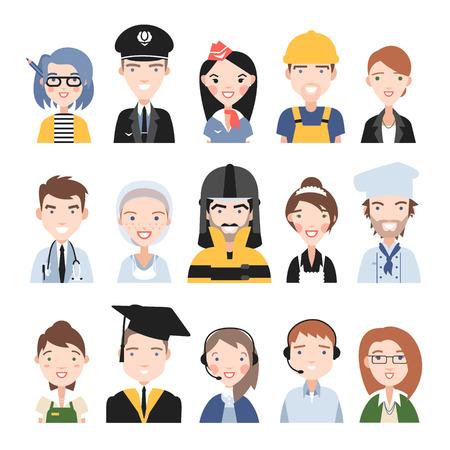 diferentes profesiones: Personas de diferentes profesiones. Sobre un fondo blanco.