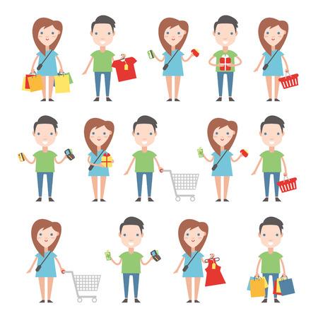 comprando zapatos: Compradores felices fijadas. Hombres y mujeres con carritos de la compra, bolsas y tiendas.