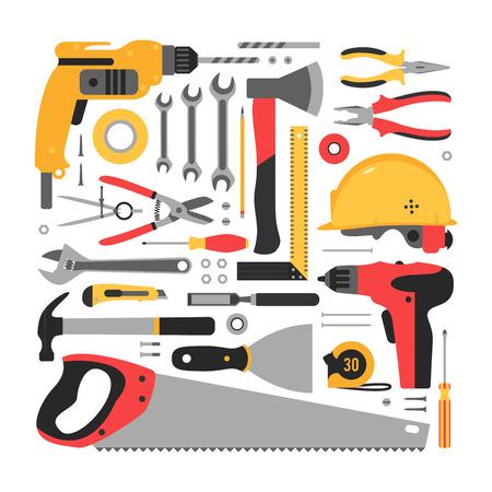 outils construction: Big ensemble d'outils de construction. D�finir des outils de construction soigneusement empil�s.