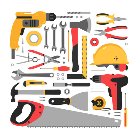 Big set of construction tools. Set neatly stacked construction tools.