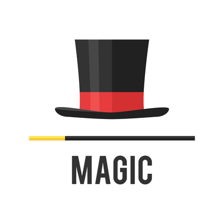 magic trick: Top hat magician with a cane. Magical attributes.