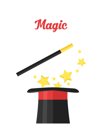 Top hat magician with a cane. Magical attributes.