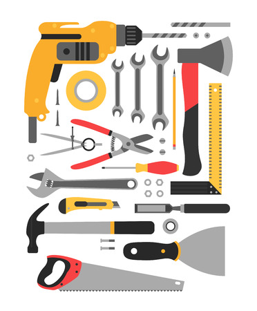 neatly stacked: Big set of construction tools. Set neatly stacked construction tools.