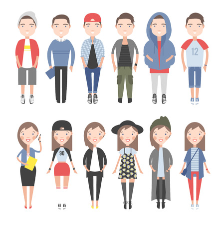 Girls and boys in casual clothes set. On a white background individual figures.