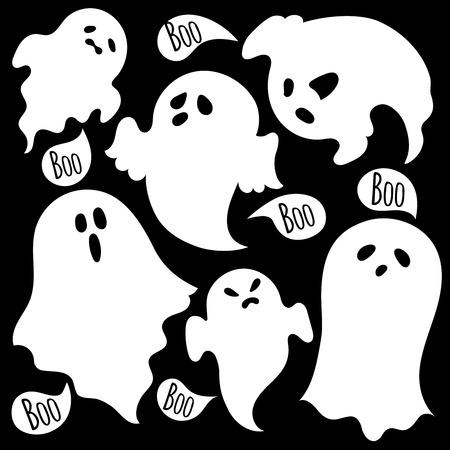 Un conjunto de fantasmas espeluznantes sobre un fondo blanco. Ilustración de vector