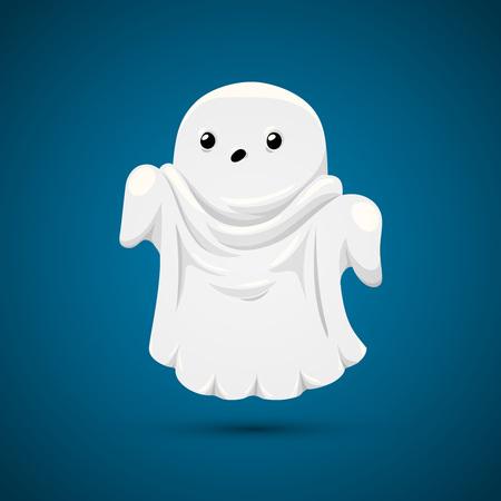 Buona fantasma sul blu. Fantasma divertente su sfondo blu.
