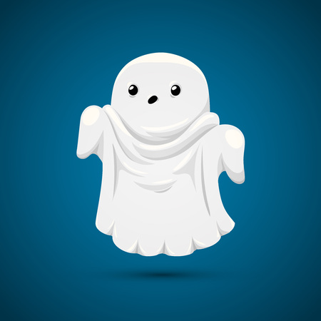 ghost character: Good ghost on blue. Funny ghost on blue background. Illustration