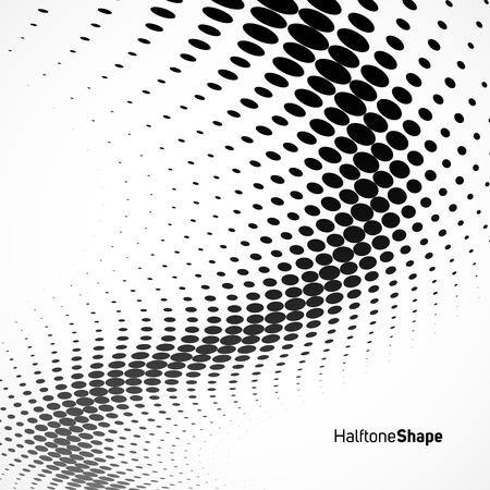 Abstrait arrière-plan géométrique. Halftone background noir et Waite.