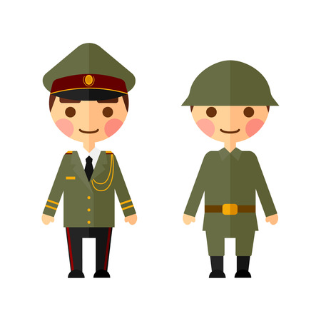 Military men flat set. Figures on a white background. Vector