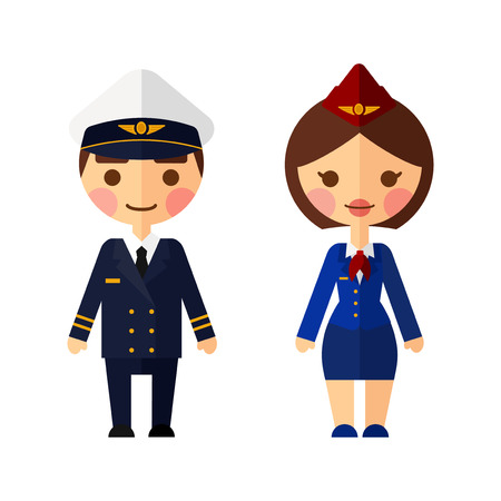 Ship captain on white background. The pilot and flight attendants vector set.