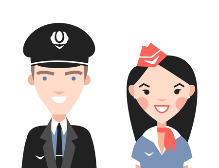 The pilot and flight attendants vector set. Vector