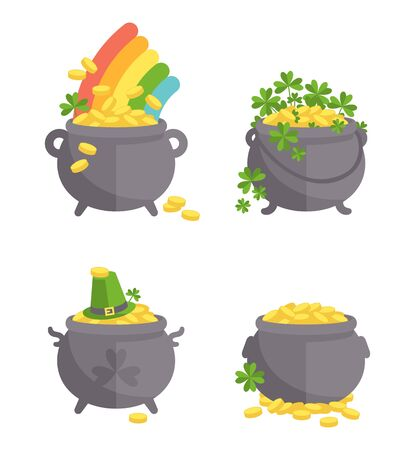 full day: Pot with gold set. The Irish symbols of the holiday.