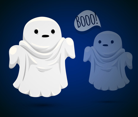 illusionary: Good ghost. Funny ghost on blue background.