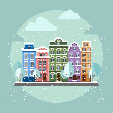 townhouses: Casco antiguo en invierno. Casco antiguo en un estilo plano. Vectores