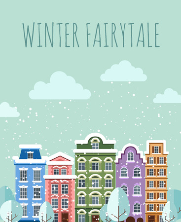 old town: Old Town in winter. Old Town into a flat style. Illustration