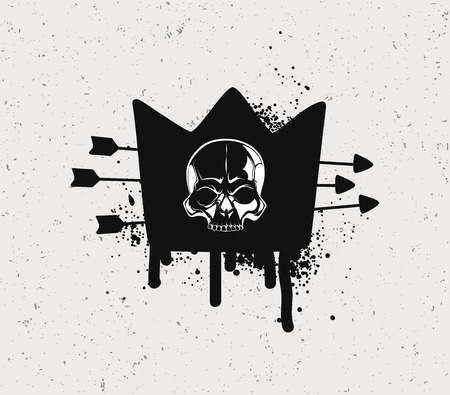 hijacking: Black crown with the skull. The symbol of revolution on a pirate ship.