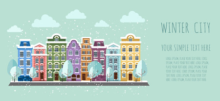 Old Town in winter. Old Town into a flat style. Illustration