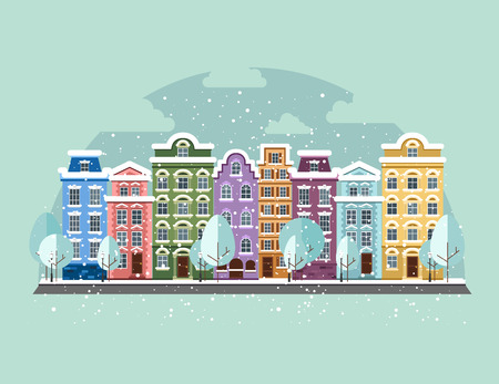 little town: Old Town in winter. Old Town into a flat style. Illustration
