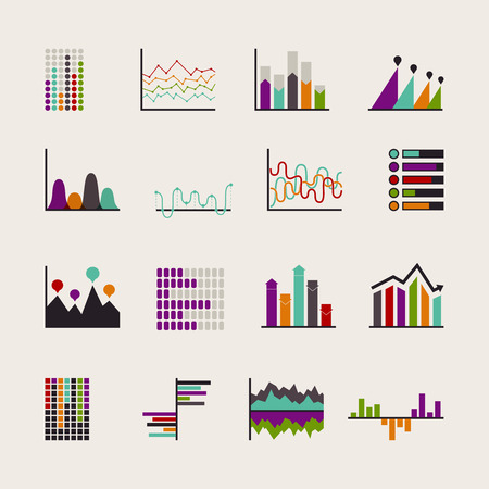 Set schedules for business illustrations. Various manners supply of statistical information. Иллюстрация