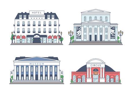 Set van gebouwen op een witte achtergrond. Ontworpen in een platte stijl.