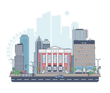 Panorama van de stad. Bank op de achtergrond van de stad.