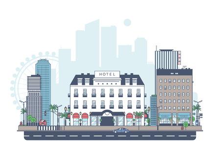 arquitectura: Panorama de la ciudad. El hotel está en el fondo de la ciudad. Vectores