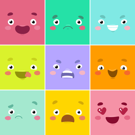 Cartoon faces. Set of different emotions painted in squares. Illusztráció