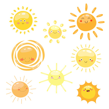 オレンジ色の太陽のシンボルを設定します。様々 な塗装太陽。  イラスト・ベクター素材