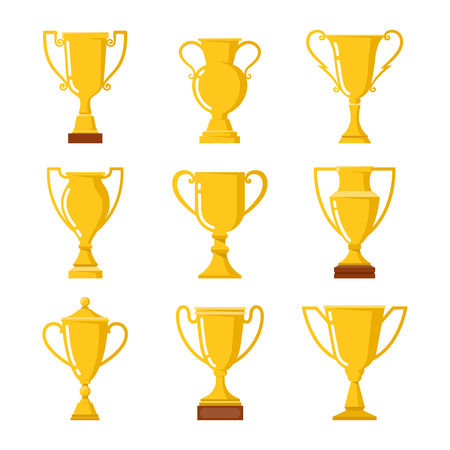 trofeo: Ganadores taza. Conjunto de diferentes copas de oro. Vectores