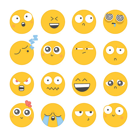 iconography: Set of smiley icons with different face. Isolated on white background.
