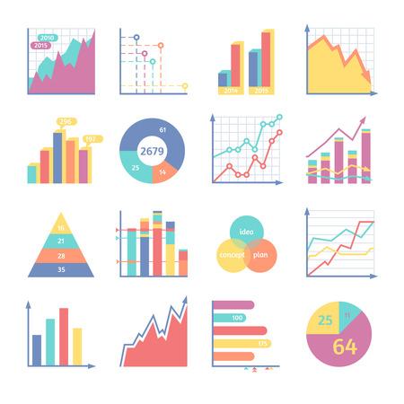 Set's voor zakelijke illustraties. Verschillende manieren levering van statistische informatie. Stock Illustratie