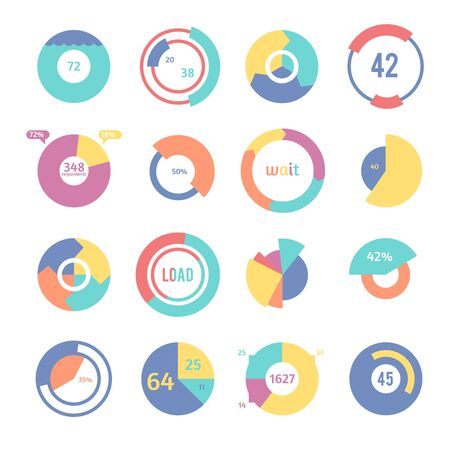 Set of different pie charts. Modern infographics for presentations. Vector