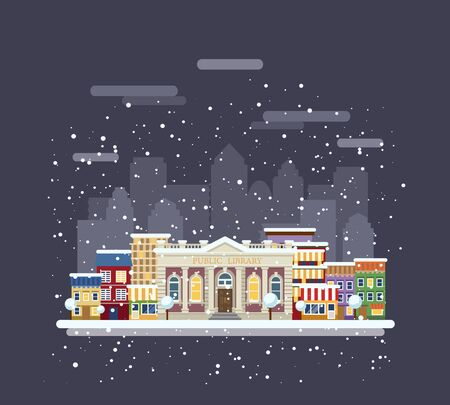 Library in a winter city. City landscape. Illustration