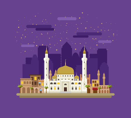 city night: Mosque on the background of the city. Night landscape.