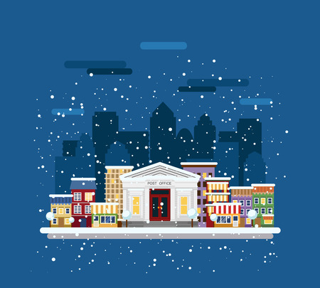 post office building: Winter cityscape. Post office in the city. Illustration