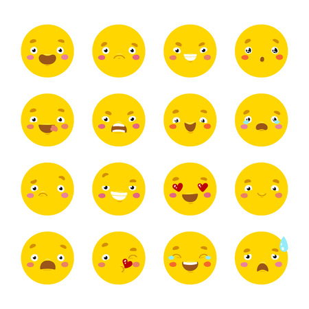 Set of smiley icons with different face. Isolated on white background.