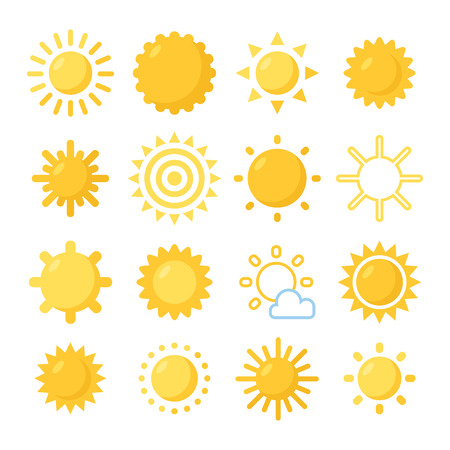 오렌지 태양 기호를 설정합니다. 다양한 그린 태양. 일러스트