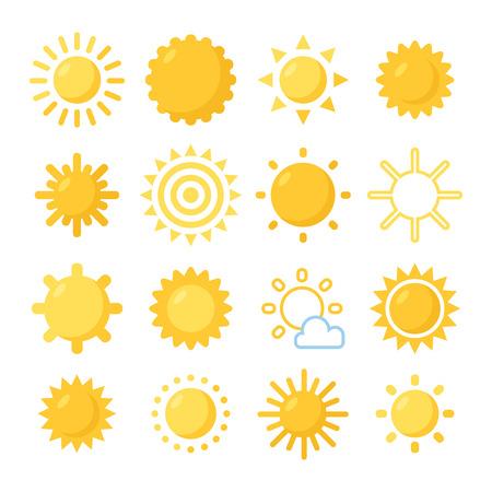 sol caricatura: Símbolos Naranja de Sun fijados. Varios sol pintado. Vectores
